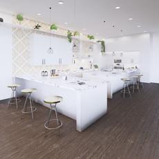 Vizualizácia bledo bielej kuchyne  + biely mramor