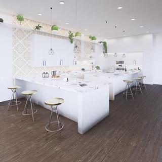 3d vizualizácia interiéru kuchyne z pracovnej dosky z bieleho mramoru a bielych kuchynských skriniek a tmavo hnedej drevenej podlahy 2