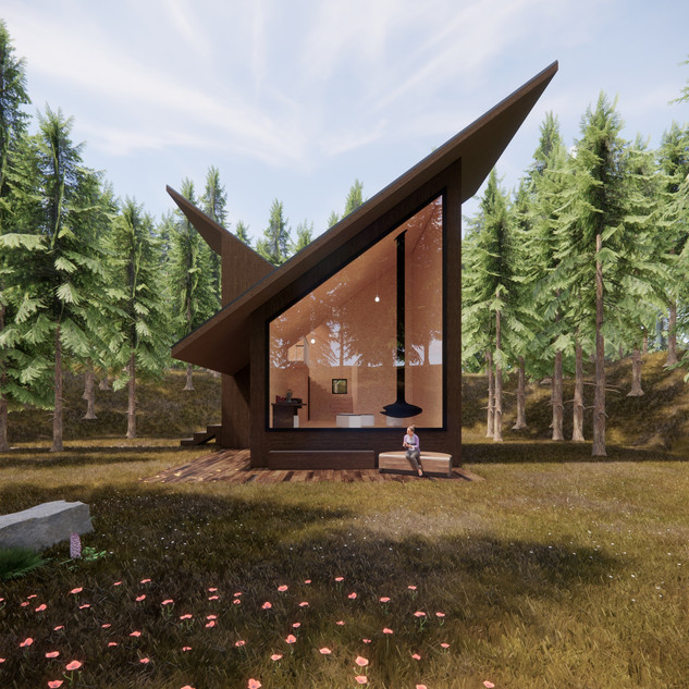 3d vizualizácia exteriéru drevodomu z tmavo hnedého dreva v lese vytvorená v programe Revit a Enscape