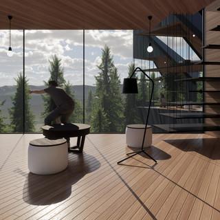 3d vizualizácia interiéru futuristického domu v korunách stromov z bledého elegantného dreva vytvorená v programe Revit a Enscape 3
