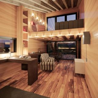 3d vizualizácia interiéru drevodomu vytvorená v programe Revit a Enscape - starý drevený obklad