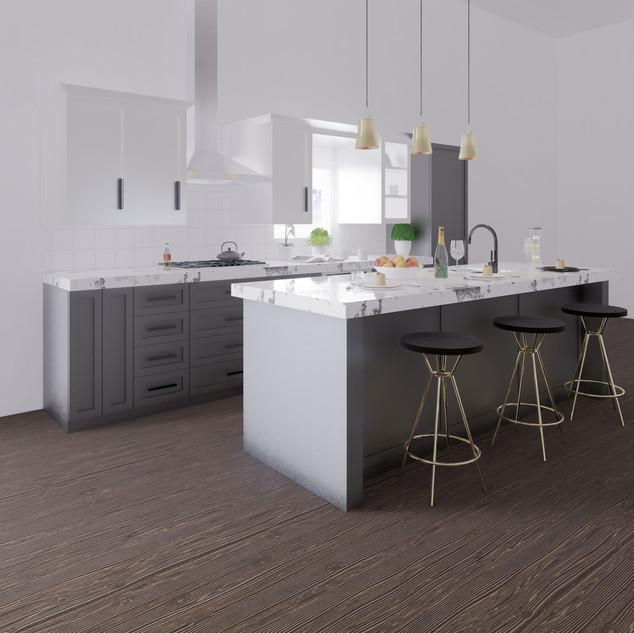 3d vizualizácia interiéru kuchyne z pracovnej dosky z bieleho mramoru a tmavo šedých kuchynských skriniek a tmavo hnedej drevenej podlahy 2