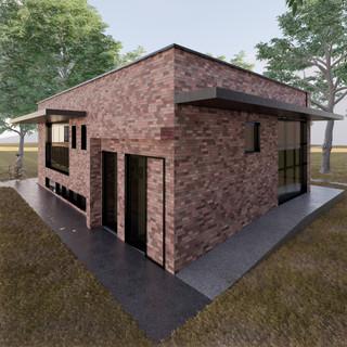 3d vizualizácia exteriéru kaviarne z červenej tehly vytvorená v programe Revit a Enscape 5
