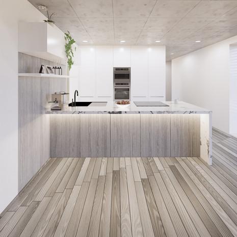Vizualizácia bledo bielej kuchyne s drevom