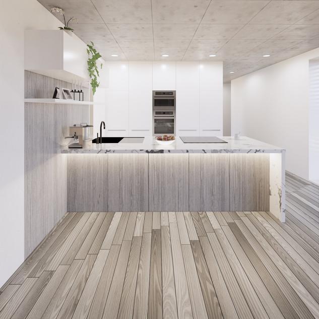 3d vizualizácia interiéru kuchyne z pracovnej dosky z bieleho mramoru a drevených a bielych kuchynských skriniek a sivej drevenej podlahy