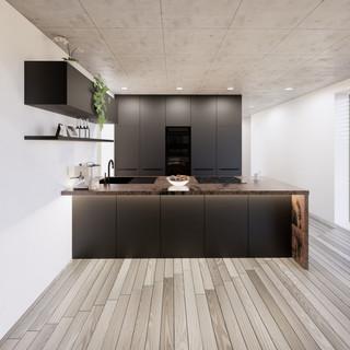 3d vizualizácia interiéru kuchyne a obývačky z pracovnej dosky z bronzu a čiernych kuchynských skriniek a sivej drevenej podlahy 2
