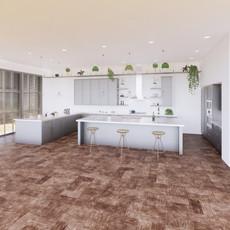 Vizualizácia bledo šedej kuchyne  + biela pracovná doska