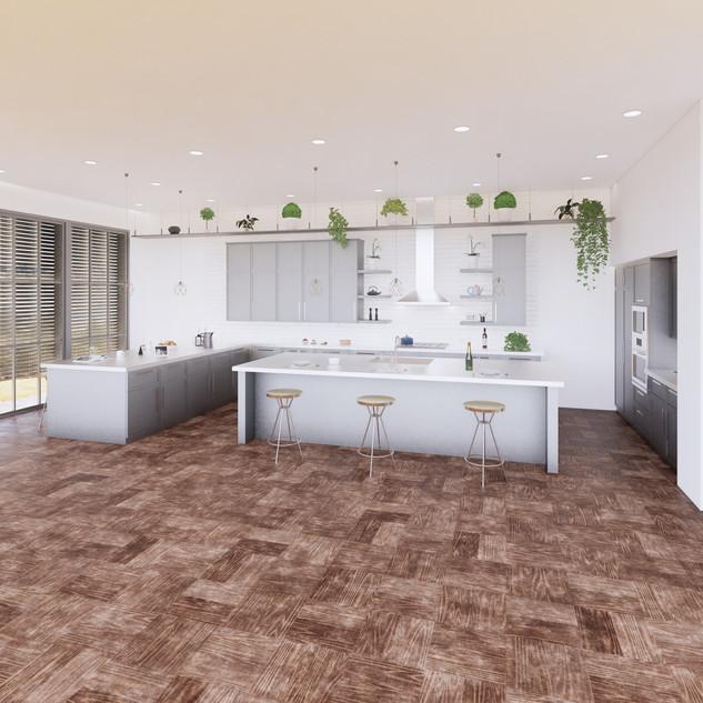 3d vizualizácia interiéru kuchyne z pracovnej dosky z bieleho materiálu a bledo šedých kuchynských skriniek a hnedej drevenej podlahy