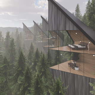 3d vizualizácia exteriéru futuristického domu v korunách stromov z tmavo šedého dreva ako fasády vytvorená v programe Revit a Enscape