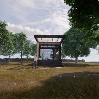 3d vizualizácia exteriéru drevodomu v lese vytvorená v programe Revit a Enscape 2