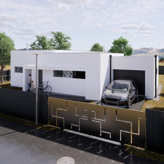 3d vizualizácia exteriéru rodinného domu s bielou fasádou na malom pozemku vytvorená v programe Revit a Enscape 3
