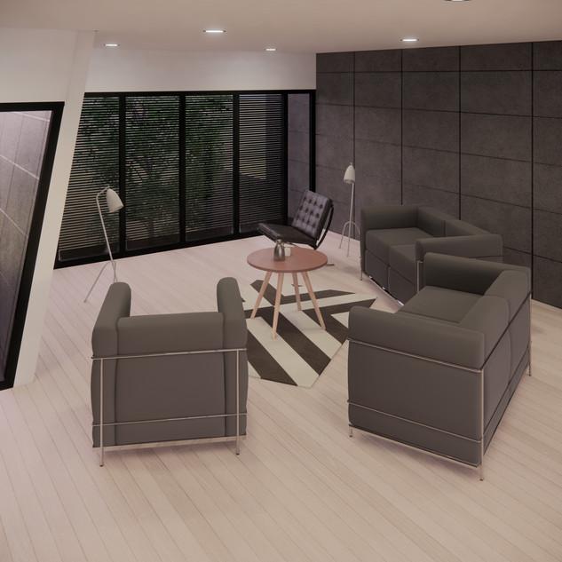 3d vizualizácia interiéru futuristického betónového rodinného domu vytvorená v programe Revit a Enscape 4