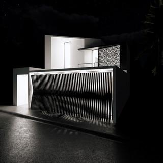 3d vizualizácia exteriéru moderného rodinného domu so špeciálnou segmentovanou bránou  vytvorená v programe Revit a Enscape