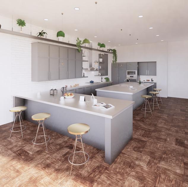 3d vizualizácia interiéru kuchyne z pracovnej dosky z bieleho materiálu a bledo šedých kuchynských skriniek a hnedej drevenej podlahy 2