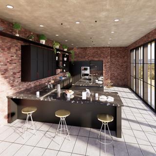 3d vizualizácia interiéru kuchyne z pracovnej dosky z čierneho mramoru a tmavo šedých kuchynských skriniek a betónovej podlahy 3
