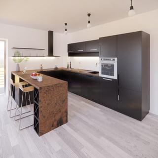 3d vizualizácia interiéru kuchyne z bronzovej pracovnej dosky a tmavo šedých kuchynských skriniek a sivo drevenej podlahy vytvorená v programe Revit
