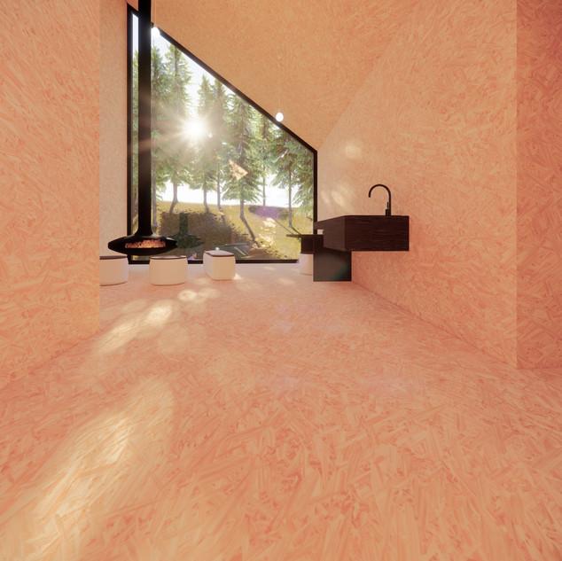 3d vizualizácia interiéru drevodomu vytvorená v programe Revit a Enscape - vnútorný materiál drevotrieska