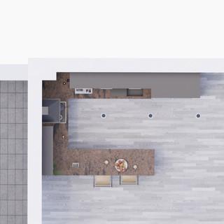 3d vizualizácia interiéru kuchyne z bronzovej pracovnej dosky a tmavo šedých kuchynských skriniek a sivo drevenej podlahy vytvorená v programe Revit 4