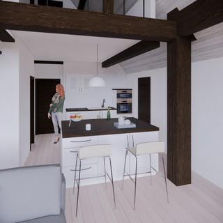 3d vizualizácia interiéru rodinného domu z tmavo hnedého dreveného skeletu a bieleho obkladového dreva vytvorená v programe Revit a Enscape 2