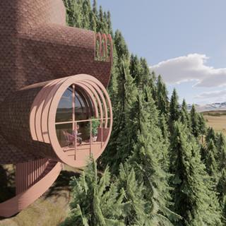 3d vizualizácia exteriéru futuristického domu v korunách stromov z hnedej drevenej fasády vytvorená v programe Revit a Enscape 3