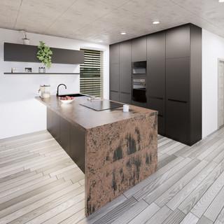 3d vizualizácia interiéru kuchyne a obývačky z pracovnej dosky z bronzu a čiernych kuchynských skriniek a sivej drevenej podlahy 4