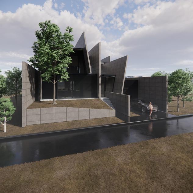 3d vizualizácia exteriéru futuristického betónového rodinného domu vytvorená v programe Revit a Enscape 4