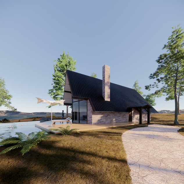 3d vizualizácia exteriéru rodinného domu pri jazere z tehly a tmavo hnedého dreveného skeletu vytvorená v programe Revit a Enscape 4
