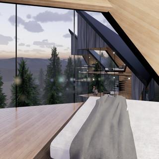 3d vizualizácia interiéru futuristického domu v korunách stromov z bledého elegantného dreva vytvorená v programe Revit a Enscape