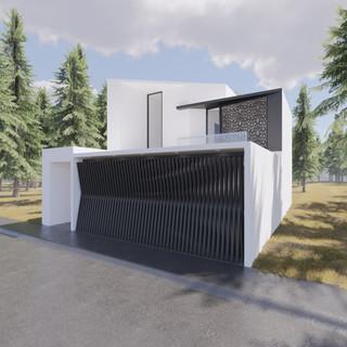 3d vizualizácia exteriéru moderného rodinného domu so špeciálnou segmentovanou bránou  vytvorená v programe Revit a Enscape 4