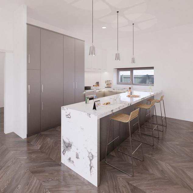 3d vizualizácia interiéru kuchyne z pracovnej dosky z bieleho mramoru a bledo šedých kuchynských skriniek a hnedej drevenej podlahy 2