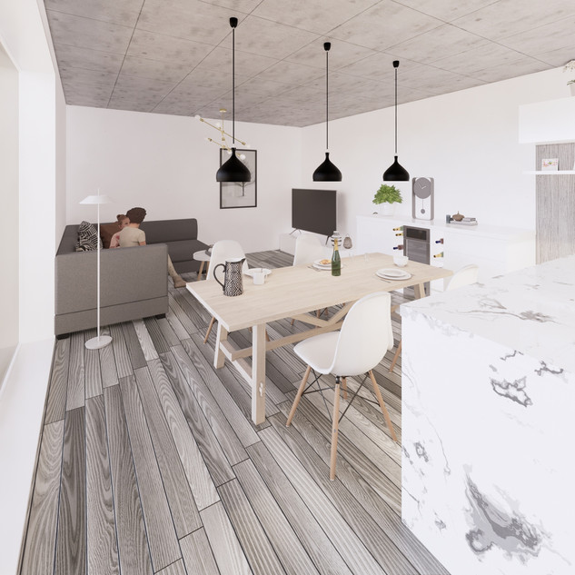 3d vizualizácia interiéru kuchyne a obývačky z pracovnej dosky z bieleho mramoru a drevených a bielych kuchynských skriniek a sivej drevenej podlahy 4