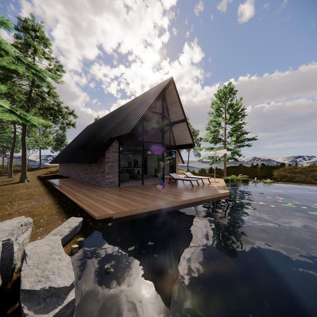 3d vizualizácia exteriéru rodinného domu pri jazere z tehly a tmavo hnedého dreveného skeletu vytvorená v programe Revit a Enscape 3
