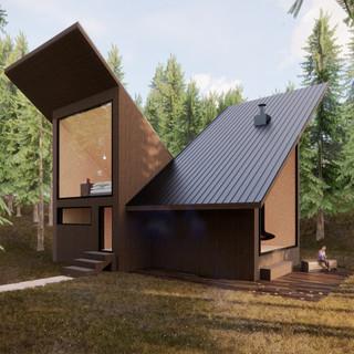 3d vizualizácia exteriéru drevodomu z tmavo hnedého dreva v lese vytvorená v programe Revit a Enscape 3