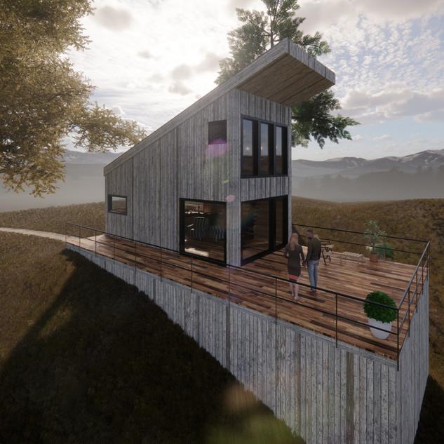 3d vizualizácia exteriéru drevodomu pri jazere a v lese vytvorená v programe Revit a Enscape 4
