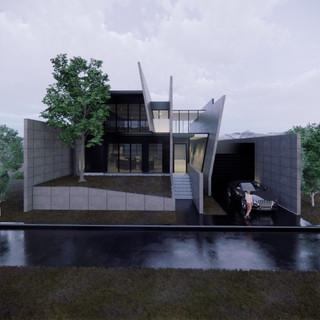 3d vizualizácia exteriéru futuristického betónového rodinného domu vytvorená v programe Revit a Enscape