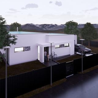3d vizualizácia exteriéru rodinného domu s bielou fasádou na malom pozemku vytvorená v programe Revit a Enscape 4