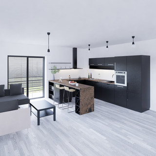 3d vizualizácia interiéru kuchyne z bronzovej pracovnej dosky a tmavo šedých kuchynských skriniek a sivo drevenej podlahy vytvorená v programe Revit 2