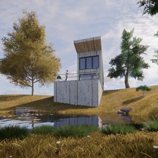 3d vizualizácia exteriéru drevodomu pri jazere a v lese vytvorená v programe Revit a Enscape 3