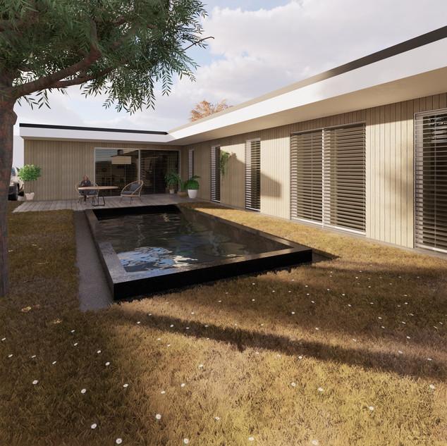 3d vizualizácia exteriéru rodinného domu alebo bungalowu s bielou a drevenou fasádou vytvorená v programe Revit a Enscape 4