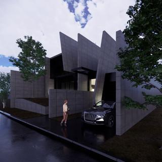 3d vizualizácia exteriéru futuristického betónového rodinného domu vytvorená v programe Revit a Enscape 2