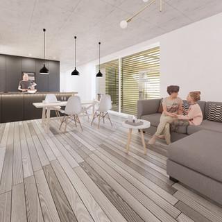 3d vizualizácia interiéru kuchyne a obývačky z pracovnej dosky z bronzu a čiernych kuchynských skriniek a sivej drevenej podlahy