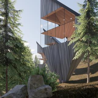 3d vizualizácia exteriéru futuristického domu v korunách stromov z tmavo šedého dreva ako fasády vytvorená v programe Revit a Enscape 2