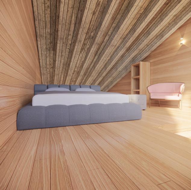 3d vizualizácia interiéru drevodomu vytvorená v programe Revit a Enscape - starý drevený obklad 2