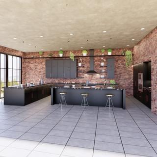 3d vizualizácia interiéru kuchyne z pracovnej dosky z čierneho mramoru a tmavo šedých kuchynských skriniek a betónovej podlahy