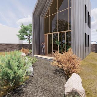 3d vizualizácia exteriéru drevodomu z tmavo šedého dreva na malom pozemku vytvorená v programe Revit a Enscape 2