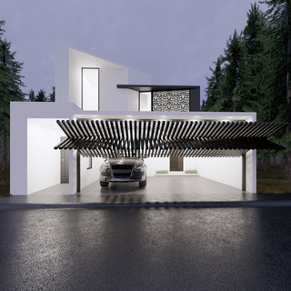 3d vizualizácia exteriéru moderného rodinného domu so špeciálnou segmentovanou bránou  vytvorená v programe Revit a Enscape 2