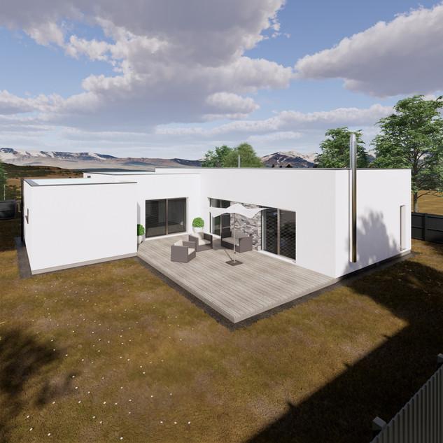 3d vizualizácia exteriéru rodinného domu s bielou fasádou a drevenou terasou na malom pozemku vytvorená v programe Revit a Enscape
