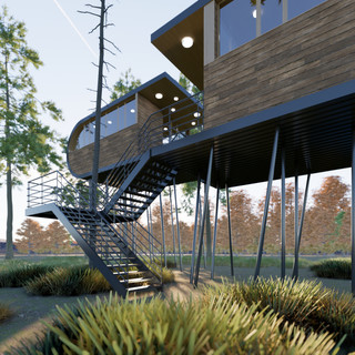 Vizualizácie exteriéru futuristickej drevenice v korunách stromov