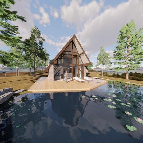 Vizualizácia domu u jazera