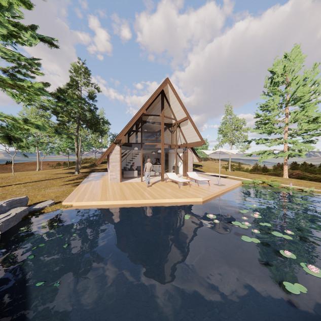 3d vizualizácia exteriéru rodinného domu pri jazere z tehly a tmavo hnedého dreveného skeletu vytvorená v programe Revit a Enscape